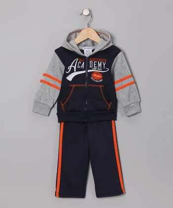 Navy 'Academy' Zip-Up Hoodie & Pants - Infant, Toddler & Boys
