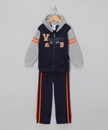 Navy 'Varsity 9' Zip-Up Hoodie & Pants - Toddler & Boys