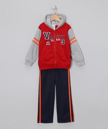 Red 'Varsity' Zip-Up Hoodie & Pants - Toddler & Boys