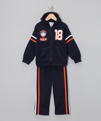 Navy 'Goalie 18' Zip-Up Hoodie & Pants - Toddler & Boys