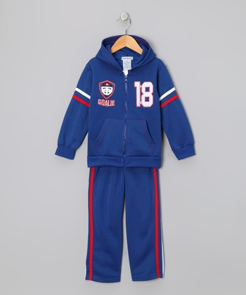 Royal 'Goalie 18' Zip-Up Hoodie & Pants - Toddler & Boys