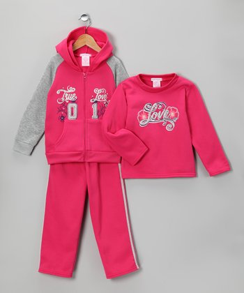 Fuchsia & Gray 'Love' Fleece Zip-Up Hoodie Set - Girls