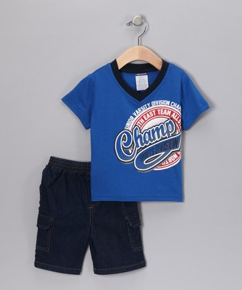 Blue 'Champ' Tee & Denim Shorts - Infant