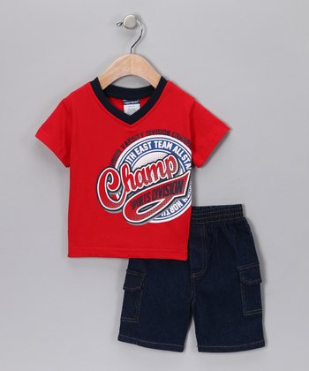 Red 'Champ' Tee & Denim Shorts - Infant