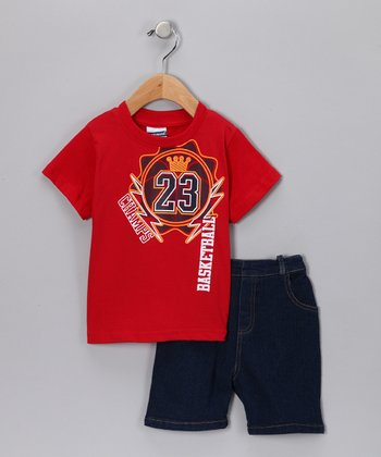 Red 'Basketball' Tee & Denim Shorts - Infant