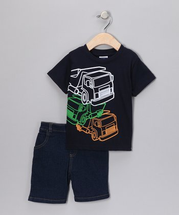 Blue Truck Tee & Denim Shorts - Infant