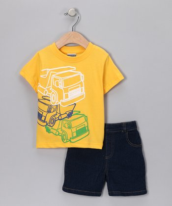 Gold Truck Tee & Denim Shorts - Infant