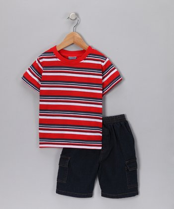 Red Stripe Tee & Denim Shorts - Infant & Toddler