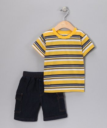 Yellow Stripe Tee & Denim Shorts - Infant & Toddler