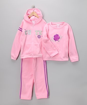 Pink 'Cute' Zip-Up Hoodie Set - Girls