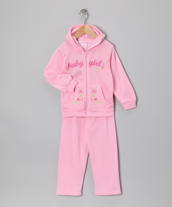 Pink 'Baby Girl' Zip-Up Hoodie & Pants - Toddler