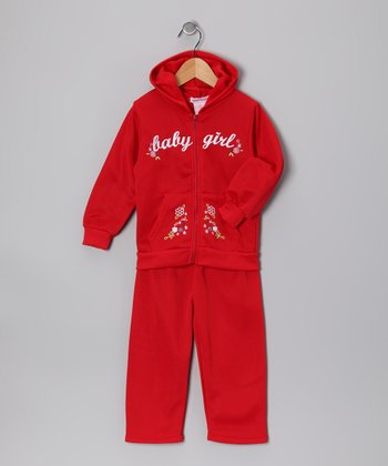Red 'Baby Girl' Zip-Up Hoodie & Pants - Toddler