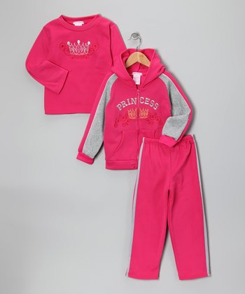 Pink 'Princess' Fleece Zip-Up Hoodie Set - Girls