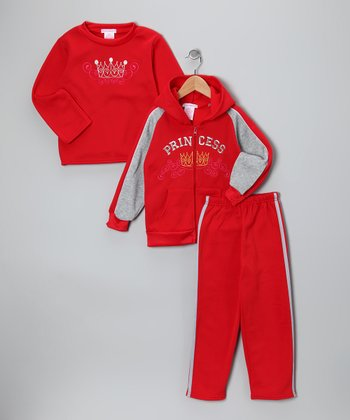 Red 'Princess' Fleece Zip-Up Hoodie Set - Girls