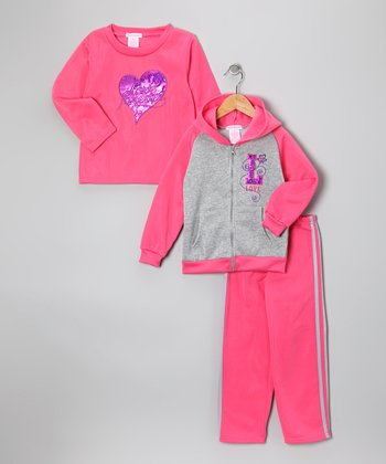 Pink 'Love' Fleece Zip-Up Hoodie Set - Girls