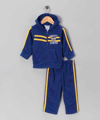 Blue 'Varsity' Zip-Up Hoodie & Pants - Infant, Toddler & Boys