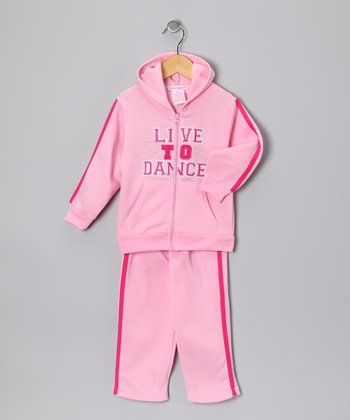 Pink 'Dance' Fleece Zip-Up Hoodie & Pants - Toddler