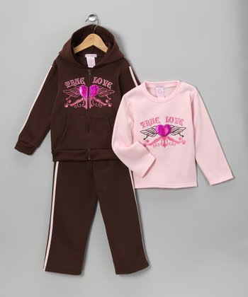 Brown Sequin Heart Fleece Zip-Up Hoodie Set - Girls