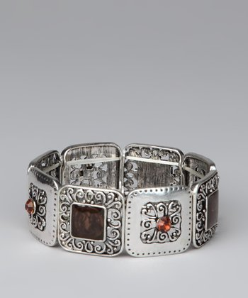 Silver & Brown Filigree Stretch Bracelet