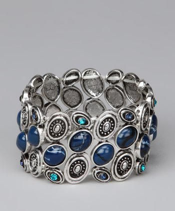 Silver & Blue Small Circles Stretch Bracelet