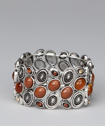 Silver & Brown Small Circles Stretch Bracelet