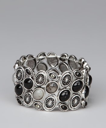 Silver & Jet Black Small Circles Stretch Bracelet
