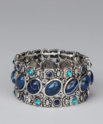 Silver & Blue Oval Stones Stretch Bracelet