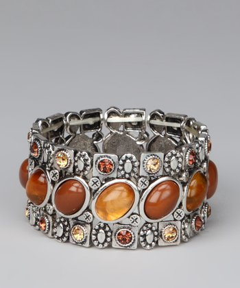 Silver & Brown Oval Stones Stretch Bracelet