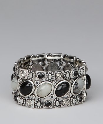 Silver & Jet Black Oval Stones Stretch Bracelet