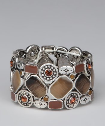 Silver & Brown Square Stones Stretch Bracelet