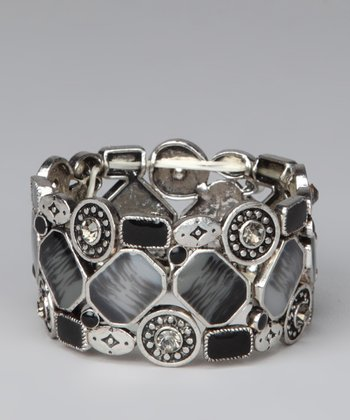 Silver & Jet Black Square Stones Stretch Bracelet
