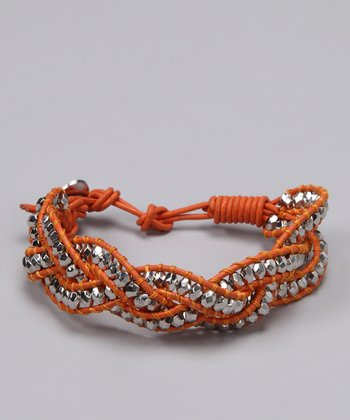 Orange & Silver Braided Leather Bracelet - Women & Plus