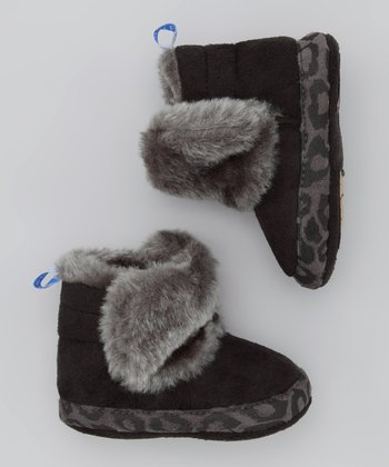 Black & Gray Leopard Furry Boot