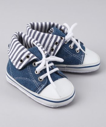 Navy Stripe Fold-Over Sneaker