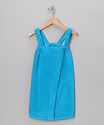 Aqua Terry Velour Wrap Cover-Up - Girls