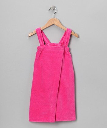 Hot Pink Terry Velour Wrap Cover-Up - Girls