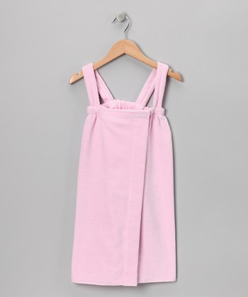 Light Pink Terry Velour Wrap - Girls