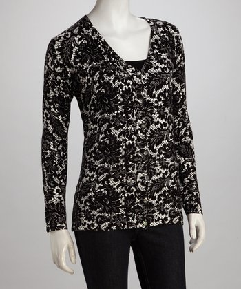 Black Lacy Cardigan - Plus