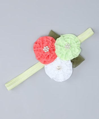 Green & White Flower Headband