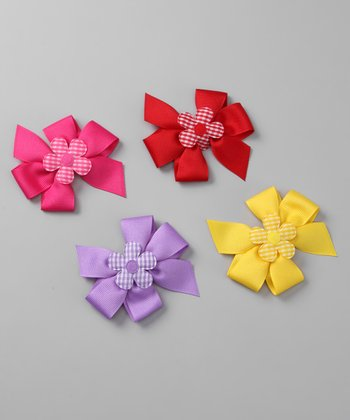 Medium Gingham Flower Bow Clip Set