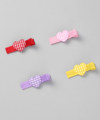 Gingham Heart Clip Set