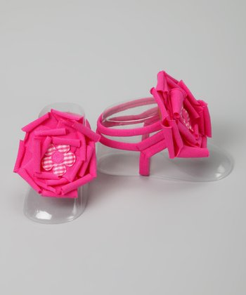 Hot Pink Gingham Flower Barefoot Sandal