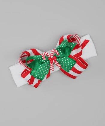 Red & White Stripe Candy Cane Stretch Headband