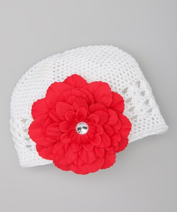 White & Red Crochet Beanie & Clip