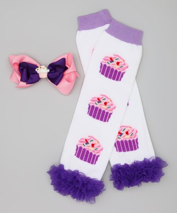Purple & White Cupcake Leg Warmers & Clip