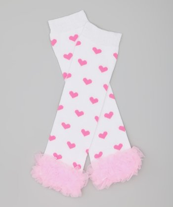 White & Pink Heart Ruffle Leg Warmers