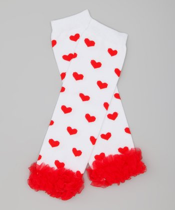 White & Red Heart Ruffle Leg Warmers