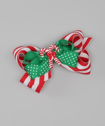 Red & White Candy Cane Bow Hair Clip