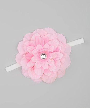 Light Pink Rhinestone Flower Silk Headband
