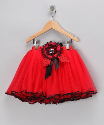 Red & Black Ladybug Flower Tutu - Toddler & Girls